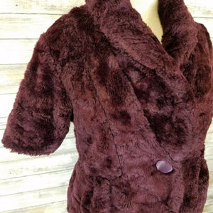 Kersh Jackets & Coats - Kersh Purple Faux Fur Coat w/ High Collar